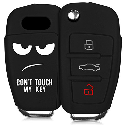 kwmobile Autoschlüssel Hülle kompatibel mit Audi 3-Tasten Klappschlüssel - Silikon Schutzhülle Schlüsselhülle Cover Don't Touch My Key Weiß Schwarz
