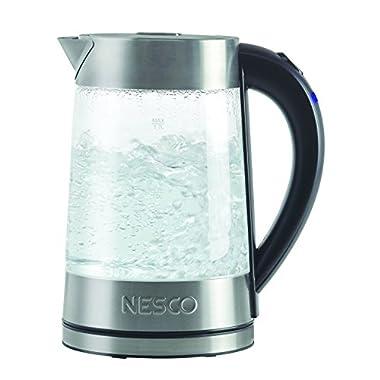 Nesco GWK-02 Electric Glass Water Kettle, 1.8 Quart, Gray