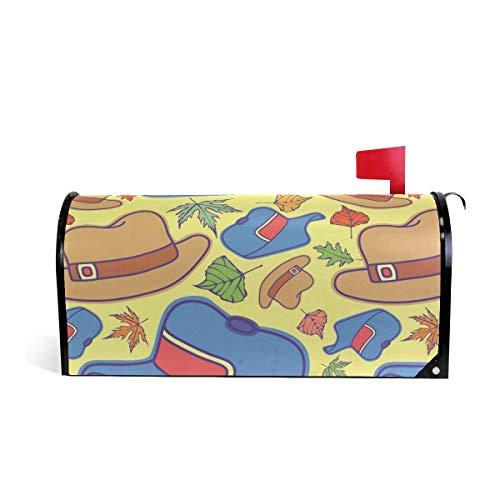 prz0vprz0v Leuke Cowboy Hoed Blauw Geel Magnetische Mailbox Cover Home Tuin Decoraties Standaard Grootte 21 x 18 Inch Waterdichte Canvas Mailbox Coveres