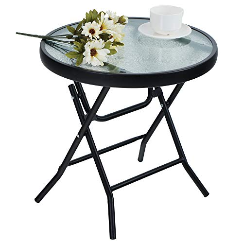 PHI VILLA Folding Side Table, Foldable Coffee Table, Outdoor Garden Table, Small Round Patio Table - Transparent