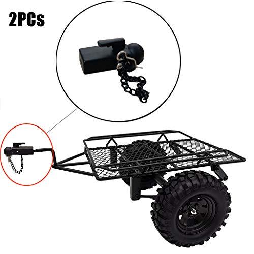 Lukame 2Pcs Traxxas Trx4 1/10 Rc Enganche de remolque de metal para vehículo con oruga para Scx10 90046