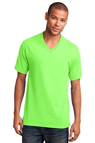 Port & Company® Core Cotton V-Neck Tee. PC54V Neon Green L