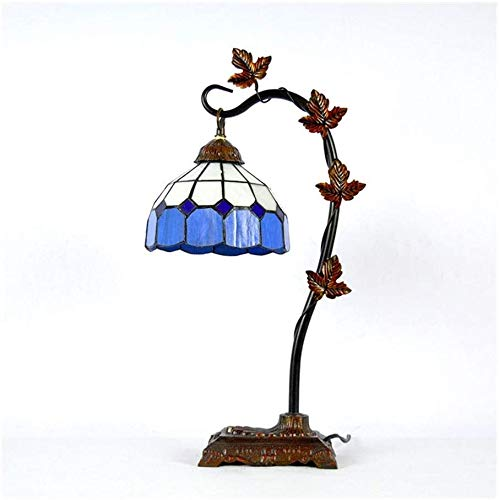 Lámpara de mesa de vidrio de color azul libélula,A