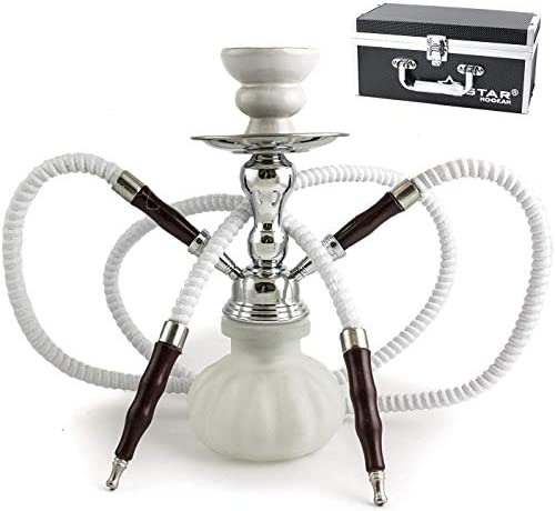 "GStar 11"" Premium 2 Hose Hookah Complete Set - Mini Pumpkin Hookah Glass Vase - Pick Your Color (Black)"