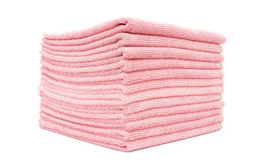 The Rag Company - All-Purpose Microfiber Terry Cleaning Towels - Commercial Grade, Highly Absorbent, Lint-Free, Streak-Free, Kitchens, Bathrooms, Offices, 300gsm, 16in x 16in, Pink (12-Pack)