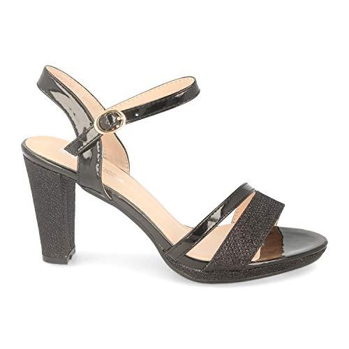 Sandalia de Mujer Ankle Strap con Tacon Cuadrado Alto, Tiras Finas en Pala y Pulsera con Hebilla. Ideal para Noche o Fiesta. Primavera Verano 2020. Talla 38 Negro