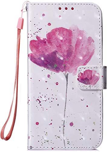 Hpory Coque Huawei P30 Pro Housse en PU Cuir avec Fermeture Magnétique Flip Case Portefeuille Etui de Protection Élégant 3D Effet Peint Coque de Protection,Fleur Pink