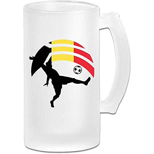 Voetbalspeler Kicking Ball België Vlag Frosted Glass Stein Beer Mok, Pub Mok, Drank Mok, Cadeau voor Bier Drinker, 500Ml (16.9Oz)