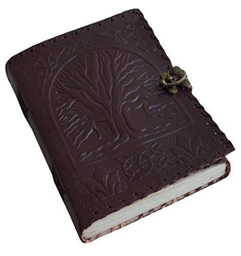 Jaald 20 cm Libreta Notas Cuaderno Hojas Diario Album Hecho a Mano con Cubierta de Cuero Cerrojo Arbol De la Vida Celta Vintage
