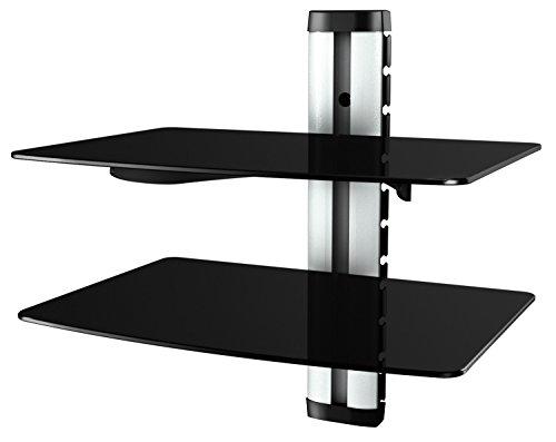RICOO DVD-S2, Multimedia Regal, Silber, Schwarz-Glas, Höhenverstellbar, 36 x 25 cm, 5KG Belastbarkeit je Ablage, Wand-Board, Kabelkanal, Wand-Regal