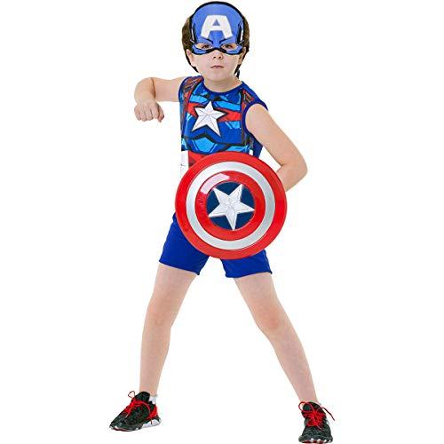 Fantasia Capitão América Curta Com Escudo M 5-8