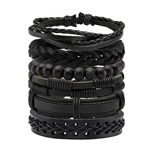 MILAKOO 6 Stück geflochtene Lederarmbänder für Männer Frauen gewebtes Manschettenarmband verstellbar