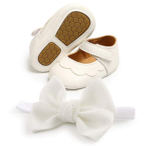 Baby Girl Shoes Soft Sole Infant Toddler Wedding Dress Shoes Princess Mary Jane Shoes Prewalkers Crib Shoes with Bow Headband