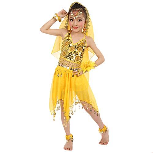 Conjunto de trajes para niñas de 0 a 8 años, hecho a mano para niños, niñas, danza del vientre, tela de danza de Egipto, bonito regalo de Pascua, juego de ropa de bebé para 4 a 8 años (amarillo)