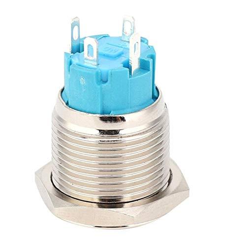 2 Piezas momentáneo IP65 Silver Point, Interruptor de botón de Bloqueo automático 1NO Interruptor de botón para instrumentación(Blue)