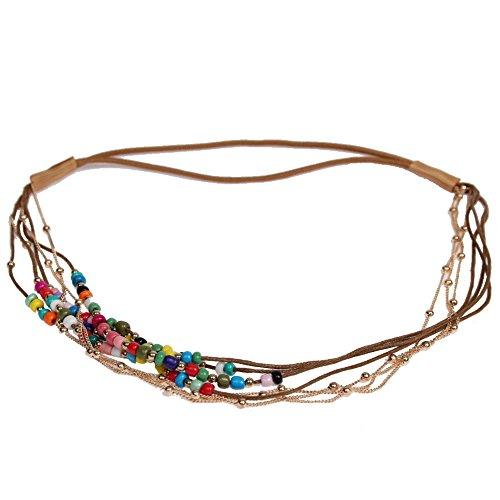 JUSTFOX - Haarband Boheme Hippie Style mit farbigen Perlen und Goldener Kette Bunt