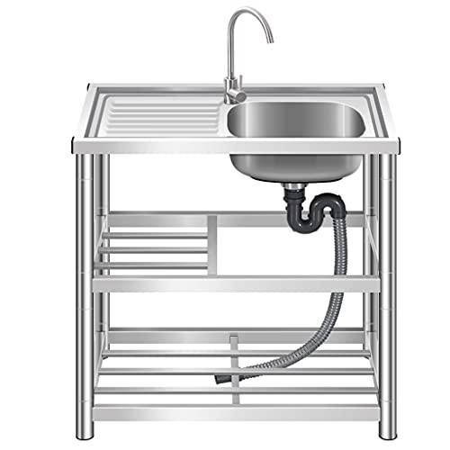 Fregadero grande de un solo lavabo, fregadero de acero inoxidable, fregadero de jardín profesional para exteriores con grifo y soporte, fregadero de cocina comercial, 80x45x80cm / 31.5x17.7x31.5in