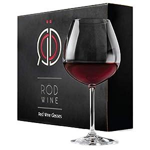 ROD Wine Juego de Copas de Vino Tinto - Vasos de Cristal en Titanio sin Plomo, con una Taza Grande 650 ml, Copas de Vino Tinto con un Tallo Largo para una degustación Ideal
