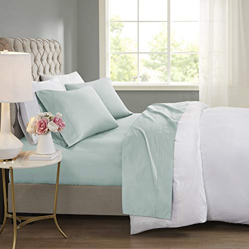 Beautyrest BR 600 TC Cooling Cotton Blend Solid Sheet 16 Inch Deep Pocket Hypoallergenic, All Season, Soft Bedding-Set, Matching Pillow Case, Full, Seafoam 4 Piece