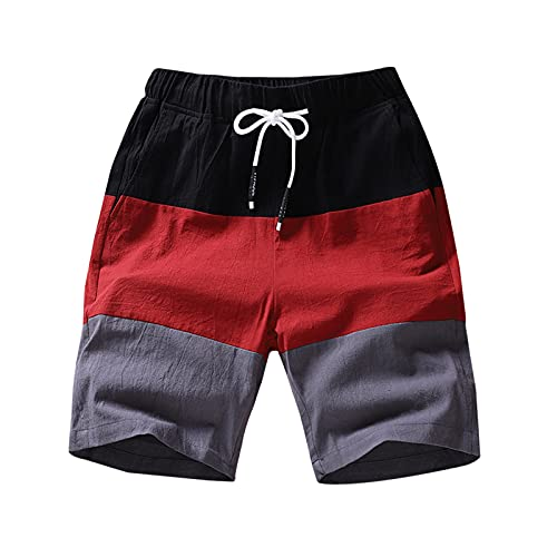 Fishoneion Men's Flat Front Shorts Summer Contrast Color Lounge Short Casual Drawstring Beach Shorts Red
