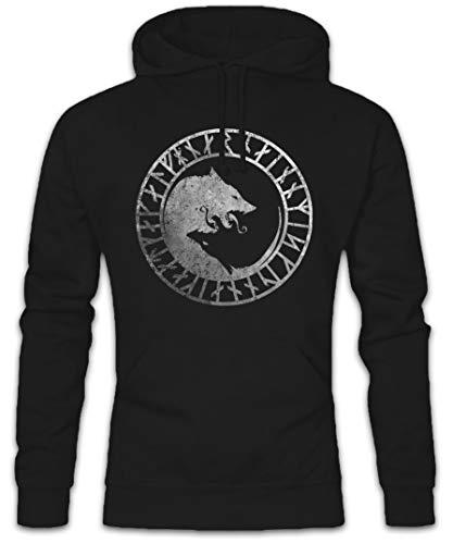 Urban Backwoods Geri and Freki Hoodie Kapuzenpullover Sweatshirt Schwarz Größe L
