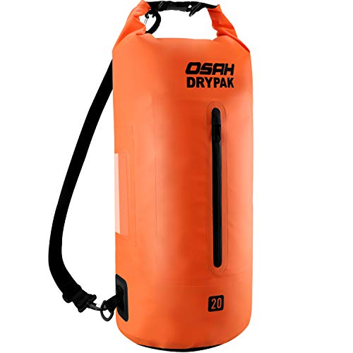 OSAH DRYPAK Dry Bag Wasserdichter Packsack wasserdichte Tasche Sack Beutel Lang Schulter Verstellbarer Schultergurt für Kajak Boot Angeln Rafting Schwimmen Wassersport Treiben (Orange, 20L)