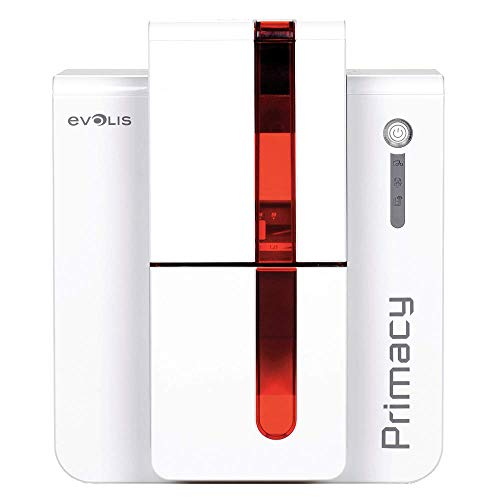 Evolis Primacy, dual sided, 300dpi USB, Ethernet, red, PM1H0000RD (USB, Ethernet, red incl.: card feeding (max. 100 cards), cable (USB), PSU, cleaning kit, software)