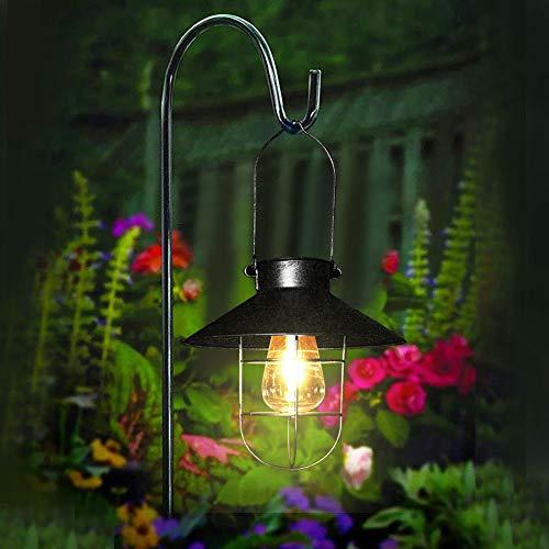 Pendant Solar Lights Outdoor Hanging Lantern Lamp with Shepherd Hook, Greenke Metal Waterproof Multipurpose Tungsten Bulb Light for Pathway Garden Outdoor (Small/ Black)