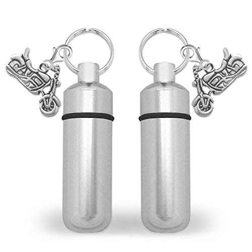 2 Pack Motorcycle Cremation Funeral Family Ashes Keepsake Memorial Vials Urn Key Chains Includes Photo Memorial Keychain and Resizing Software