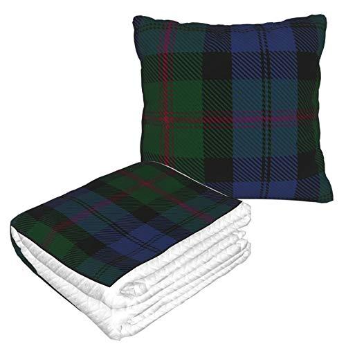 Manta de almohada de terciopelo suave 2 en 1 con bolsa suave Clan Baird Tartan Funda de almohada grande para el hogar, avión, coche, viajes, películas