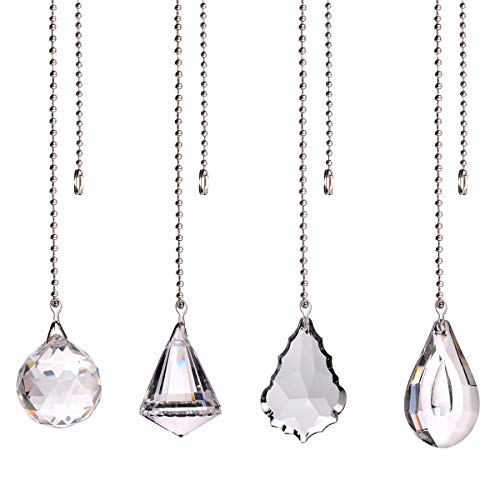 longsheng Clear Crystal Prism Drop Dazzling Crystal Ceiling Fan Pull Chain Pull Chain Extension with Connector for Ceiling Light Fan Set of 4 with Gift Box