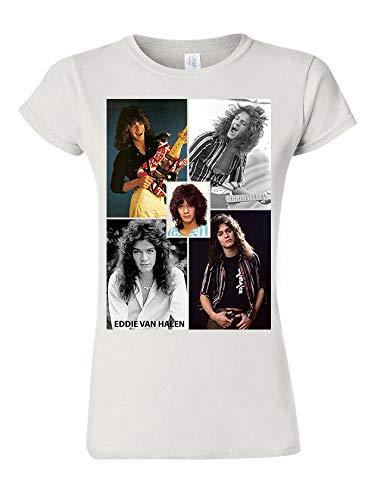 Women's Slim Fit Eddie Van Halen Photo Collage T-shirt, S to XXL