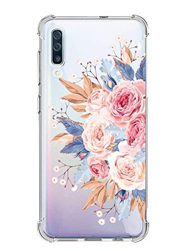Suhctup Coque Compatible avec Samsung Galaxy A6 Plus 2018,Étui Houssee de Transparent Motif Mignon [Antichoc Coussin d'air] Crystal Clear Souple Silicone TPU Bumper Protection de Cover Case,Roses 1