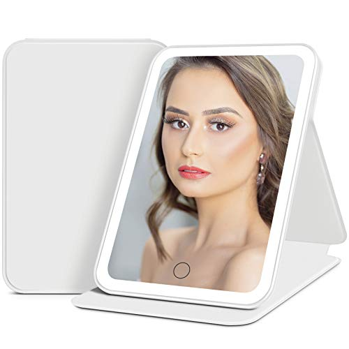 LED Lighted Travel Makeup Mirror, Rechargeable Mirror with Lights & Stand, Portable Vanity Mirror with DIY Sticker for Office Desk, 3 Color Dimmable Lighting Touch Control, Gift Idea for Her - White…