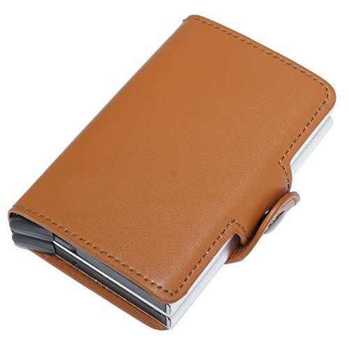 カードケース クレジットカードケース スキミング防止 磁気防止 磁気 アルミ スライド式 PUレザー おしゃれ かっこいい コンパクト カード入れ (ブラウン) PR-DOUBLEJUMPOUT-BR