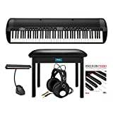 Korg SV2 88-Key Stage Vintage Piano Bundle with Knox Gear Music Light, Headphones, Flip-Top Bench, and Learning Book with CD (5 Items)