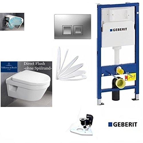 Geberit Duofix Vorwandelement, V&B Omnia Combi-Pack Architectura Compact AL 480 mm, DirectFlush WC Spülrandlos Komplettset + Deckel Softclose, Ceramicplus Drückerplatte CHROM Eckig