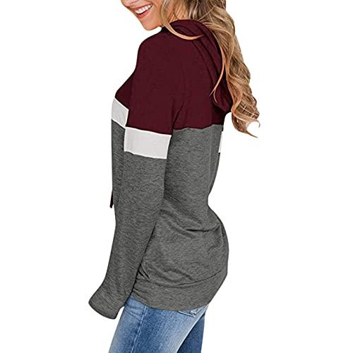 Sudadera con Capucha Blusa Top con Rayas Collar De Manga Larga para Mujeres Casual Camisas