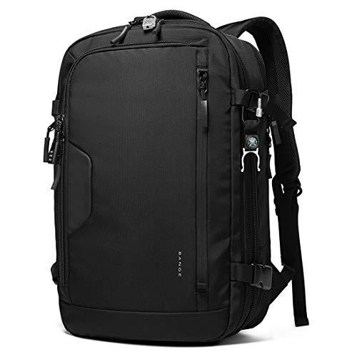 Bange Large Capacity Expandable Waterproof Business Travel Laptop Backpack (Black)