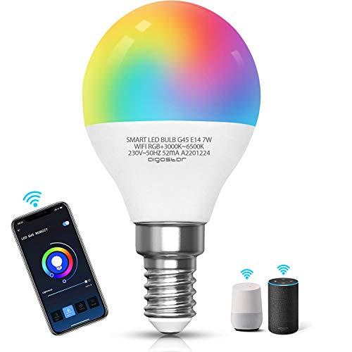 Aigostar Bombilla LED inteligente WiFi G45, 7W, E14 rosca delgada, RGB+CCT. Regulable multicolor + luz cálida o blanca 3000 a 6500K, 500lm. Compatible Alexa y Google Home [Clase energética A +]