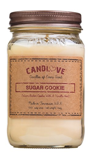 Candlove Sugar Cookie Scented 16oz Mason Jar Candle 100% Soy Made in The USA