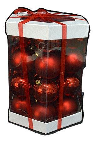 nataluna- BOX confezione 28 SFERE decorazione albero natale 6CM ROSSO LUCIDO