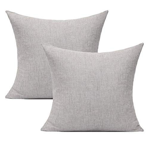 All Smiles Solid Light Gray Throw Pillow Covers Set of 2 Outdoor Patio Pillows for Sofa Bed Couch 20