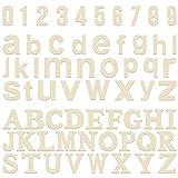 Letras de Madera y Números de Madera (124 piezas) - Juego de Letras Mayúsculas (A-Z) y Letras Minúsculas (52 cada) con 20 Números de Madera (0-9) - Art Craft DIY Wedding Party Casa de Madera