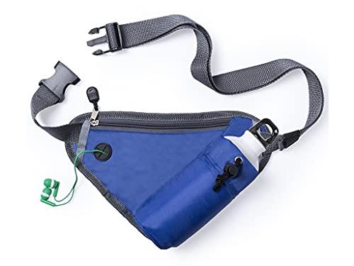 Riñonera Running Deportiva Azul para Hombre Mujer con Soporte Botella de Agua,Cremallera y Salida Auriculares,Cinturon para Correr Gran Capacidad,Bolsa Cintura para Deportes.