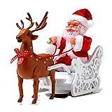 DUCUT Elk eléctrico tirando de Juguete de Trineo de Papá Noel, Carro de Ciervos de Papá Noel eléctrico Navidad Papá Noel en Trineo Juguetes Decoraciones navideñas con música Adornos de Figuras