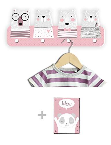 Kindsblick ® Bären Kindergarderobe in Rosa inkl. DIN A4 Poster - Garderobe mit 4 Kleiderhaken für Kinder - Wunderschöne Deko für jedes Kinderzimmer - Maße (38 x 15 x 1 cm)