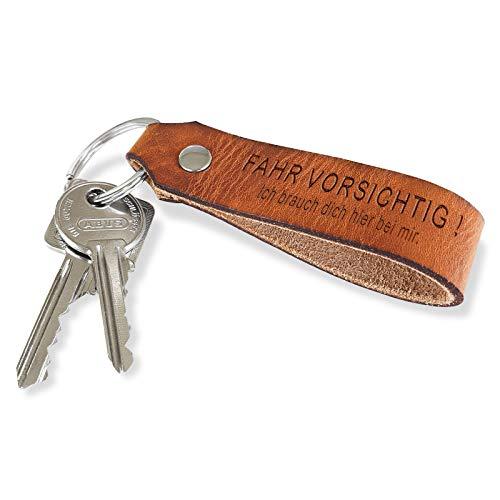 ROYALZ Echt Leder Schlüsselanhänger mit Botschaft 'Fahr Vorsichtig' Geschenk für Sie oder Ihn, Farbe:19671 Honey Braun/Fahr Vorsichtig - Ich 2
