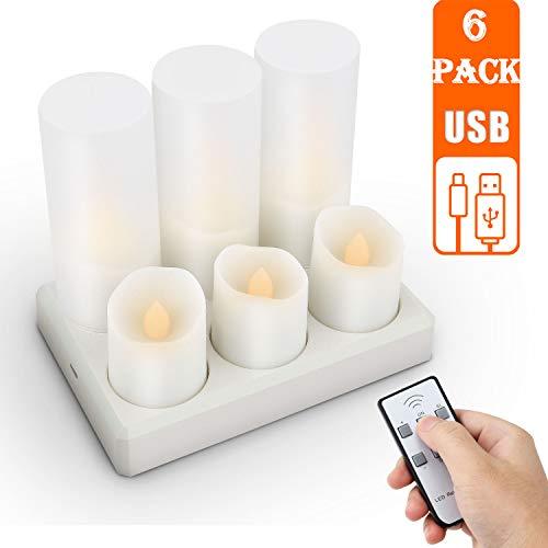 Velas LED recargables, sin llama, con mando a distancia, con temporizador, color blanco cálido, decoración para Navidad, fiestas, bodas Velas eléctricas.