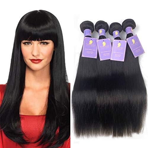 Natacee 12A Brazilian Human Hair Bundles Weave Straight Women Virgin Hair Extensions Weft UnprocessedFull Ends True Length, 12 inch Natural Black Color